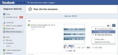 Facebook come ripristinare post nascosti segreti e for Segreti facebook