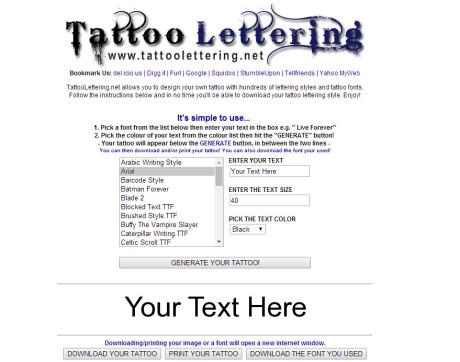 Generatore di scritte per tatuaggi