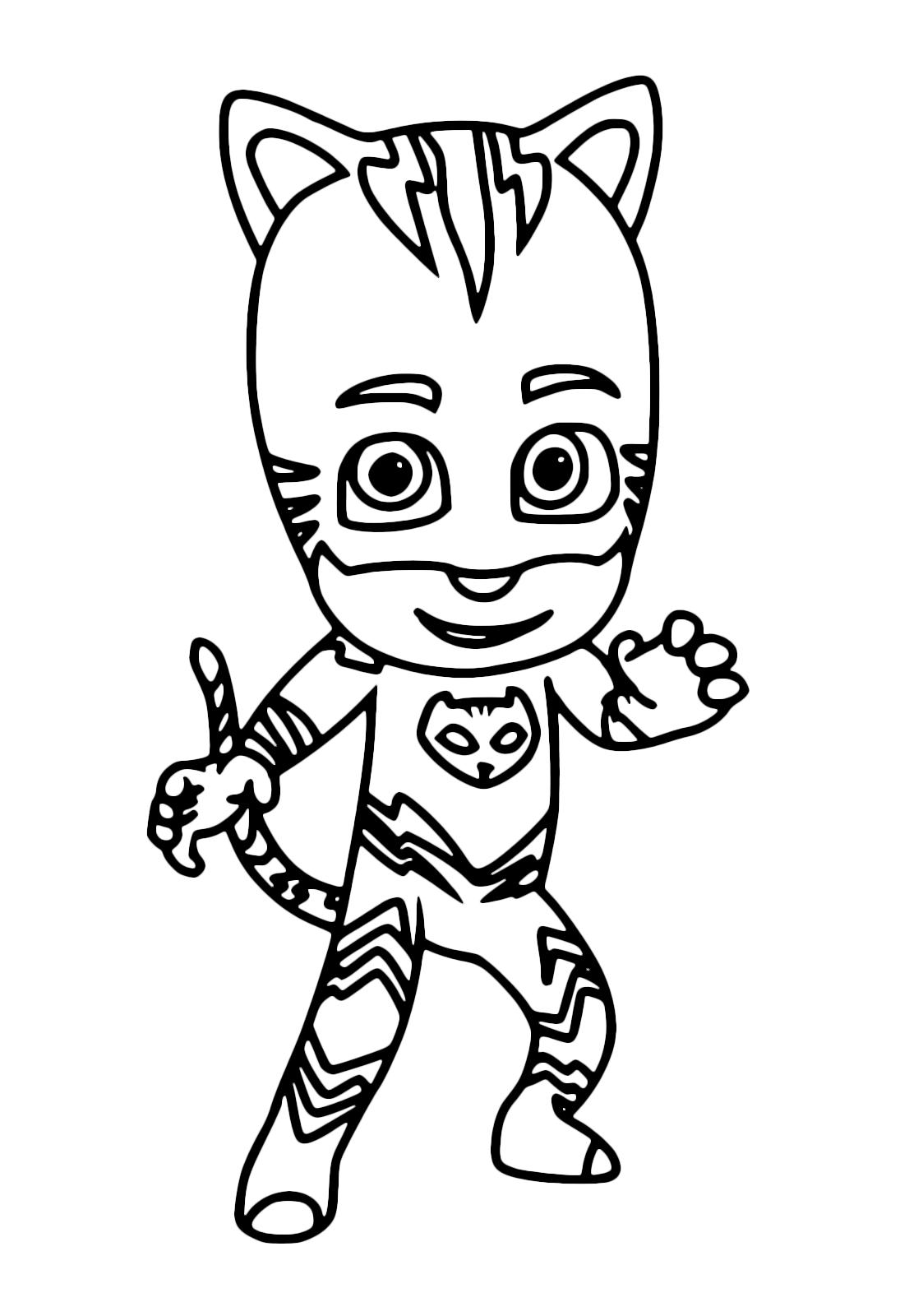 Gattoboy da colorare pronto a graffiare con i suoi artigli for Super pigiamini da colorare e stampare